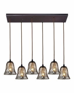 46000/6RC Elk Darien 6 Light Mini Pendant In Oiled Bronze And Mercury Glass