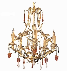 4605-GL Crystorama Hot Deal Ritz Chandelier Adorned with Amber Colored Murano Crystal
