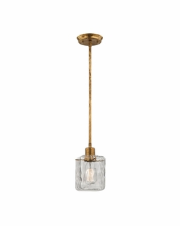 46180/1 ELK Lighting Watercube 1-Light Mini Pendant in Antique Gold Leaf with Clear Water Glass