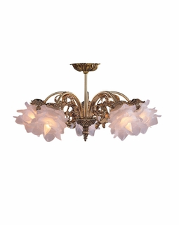465-OB-SF-L Crystorama Cecile 5 Light Brass Semi-Flush