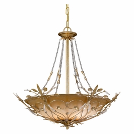 Crystorama Primrose 6 Light Faceted Crystal Beads Gold Chandelier