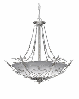 4700-SL Crystorama Primrose 6 Light Faceted Crystal Beads Silver Chandelier