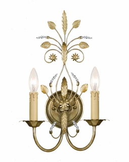 4702-GL Crystorama Primrose 2 Light Faceted Crystal Gold Sconce
