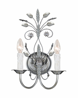 4702-SL Crystorama Primrose 2 Light Faceted Crystal Silver Sconce