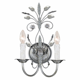 Crystorama Primrose 2 Light Faceted Crystal Silver Sconce