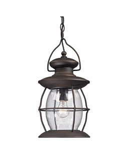 47043/1 ELK Lighting Village Lantern 1-Light Outdoor Hanging Lantern in Weathered Charcoal