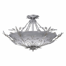 Crystorama Primrose 6 Light Faceted Crystal Silver Semi-Flush IV