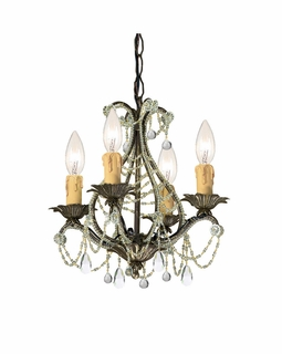 4714-BI-CL-MWP Crystorama Paris Market 4 Light Birch Mini Chandelier II