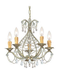 4715-GL-CL-MWP Crystorama Abigail Mini Chandelier Adorned with Clear Hand Cut Crystal