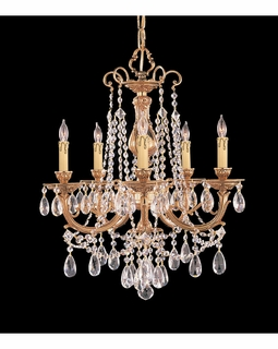 475-OB-CL-S Crystorama Etta 5 Light Swarovski Strass Crystal Brass Chandelier I