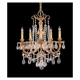 Crystorama Etta 5 Light Swarovski Strass Crystal Brass Chandelier I