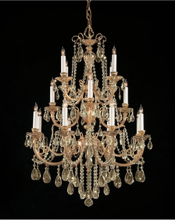 480-OB-GTS Crystorama Etta 16 Light Golden Teak Swarovski Strass Crystal Chandelier
