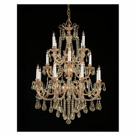 Crystorama Etta 16 Light Golden Teak Swarovski Strass Crystal Chandelier