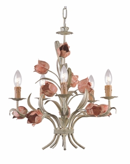 4805-SR Crystorama Southport 5 Light Sage Rose Chandelier