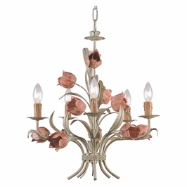 Crystorama Southport 5 Light Sage Rose Chandelier