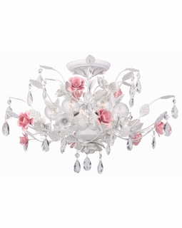 4850-WW Crystorama Lola 6 Light Semi-Flush