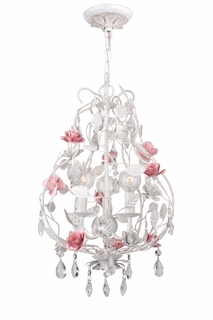 4853-AW Crystorama Lola Chandelier - Hand-Painted Wrought Iron - Metal Rose Accents and Hand-Cut Crystal Accents