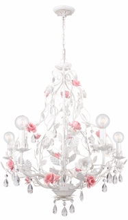 4856-AW Crystorama Lola Chandelier - Hand-Painted Wrought Iron - Metal Rose Accents and Hand-Cut Crystal Accents