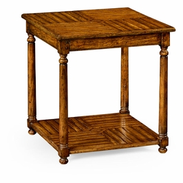 491051-CFW Jonathan Charles Casual JC Edited - Casually Country Collection Country Walnut Parquet Square Lamp Table With Contrast Inlay