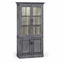 491065-ADG JC Edited Casual Country Plank Antique Dark Grey Tall Bookcase With Strap Handles