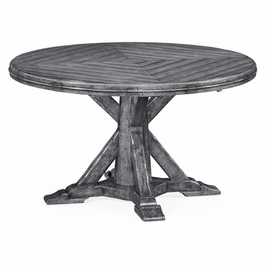 "491068-53D-ADG JC Edited Casual Country 53"" Antique Dark Grey Parquet Round-To-Oval Dining Table"
