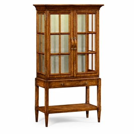 491094-CFW JC Edited Casual Country Walnut Glazed Display Cabinet With Strap Handles