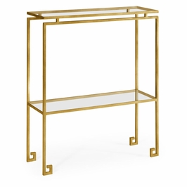 491105-G-GCL JC Edited Simply Elegant Gilded Iron Small Narrow Console Table