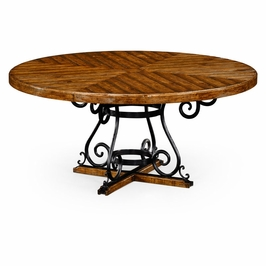 """491125-66D-CFW JC Edited Casual Country 66"""" Country Walnut And Wrought Iron Dining Table"""