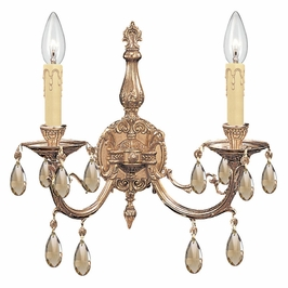 Crystorama Etta 2 Light Golden Teak Swarovski Strass Crystal Sconce