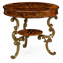 492096-WAL Jonathan Charles Traditional Windsor Collection Oyster Round Table On Brass Base