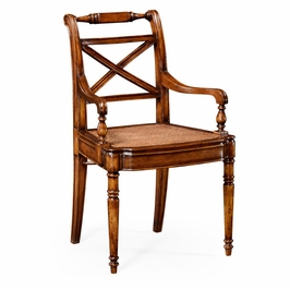 492147-AC-WAL Jonathan Charles Traditional Windsor Collection Regency Cross Frame Back Chair (Arm)