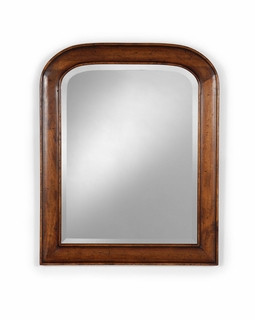 492169 Jonathan Charles Country Farmhouse Small Walnut Mirror With Curved Top