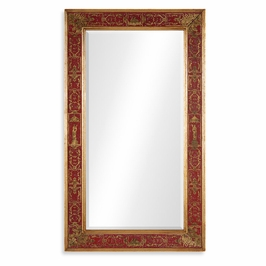 492205-GIL-GER-GPM Jonathan Charles Buckingham Rectangular Mirror With Gilt Renaissance Decoration (Red)