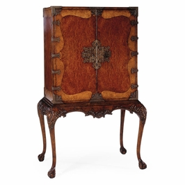 492218-SAM Jonathan Charles Buckingham Queen Anne Writing Cabinet With Fine Brass Hardware