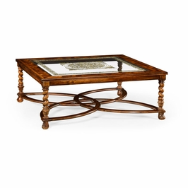 """492225-WAL-GED Jonathan Charles Buckingham Square Oyster & Eglomise Coffee Table (52"""")"""