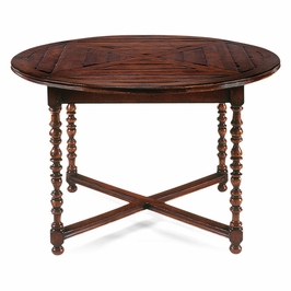 "492237-48D-WAL Jonathan Charles Country Farmhouse 48"" Round Parquet Breakfast Table"