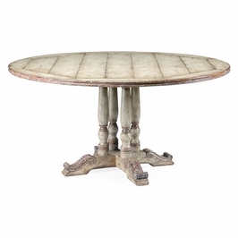 """492238-60D-PCS Jonathan Charles Country Farmhouse 60"""" French Style Painted Dining Table (Olive Green)"""