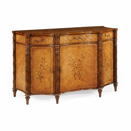 492445-SAM Jonathan Charles Versailles Satinwood Side Cabinet With Floral Inlays