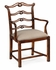 492468-AC-MAH-F001 Jonathan Charles Buckingham Chippendale Style Mahogany Pierced Back Dining Armchair