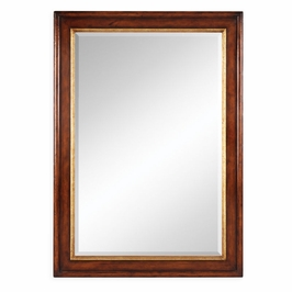 492527-WAL Jonathan Charles Traditional Windsor Collection Plain Walnut Rectangular Mirror With Gilt Inset