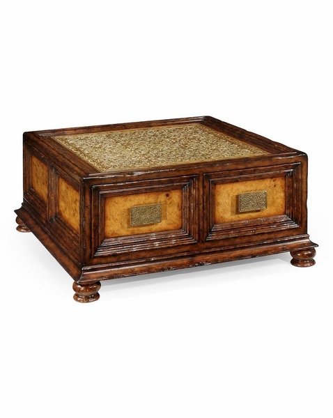 492629 Jonathan Charles Special Order Walnut Brass Square Coffee Table With Drawers
