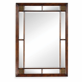 492667-WAL Jonathan Charles Traditional Windsor Collection Rectangular Walnut Panelled Mirror With Brass Details