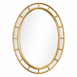 492697-GIL-GPM Jonathan Charles Traditional Versailles Collection Oval Panelled Gilded Mirror (Plain Mirror Glass)