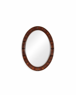 492697-GIL-PMG Jonathan Charles Oval Walnut Leather Mirror (E