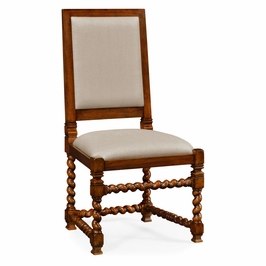 492741-SC-WAL-F001 Jonathan Charles Country Farmhouse Carolean Style Chair With Upholstered Back (Side)