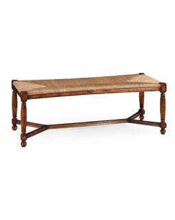 492759 Jonathan Charles Country Farmhouse Two Seat Stool With Rush Seat