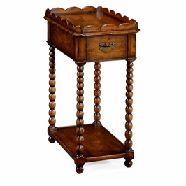493043-WAL Jonathan Charles Country Farmhouse Queen Anne Rectangular Lamp Table