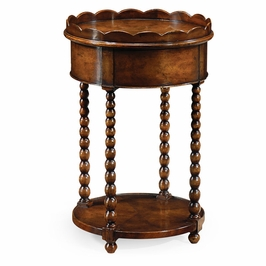 493066-WAW Jonathan Charles Country Farmhouse Bobbin Turned Round Lamp Table