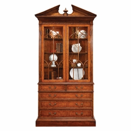 493072-CWM Jonathan Charles Buckingham Walnut Glazed Display Cabinet With Drawers