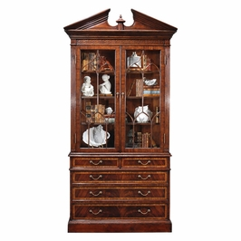 493072-MAH Jonathan Charles Buckingham Mahogany Glazed Display Cabinet With Pediment
